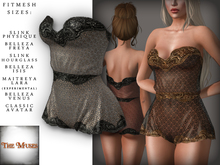 The Muses . Lacey . Romper . Black/Ivory -  Fitmesh - Belleza, Slink, Maitreya, Classic Sizes.
