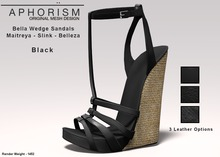 !APHORISM! Bella Wedge Sandals - Black