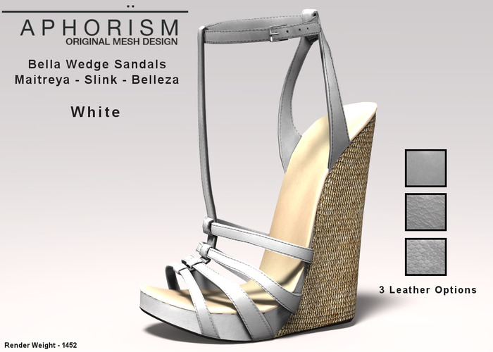 !APHORISM! Bella Wedge Sandals - White