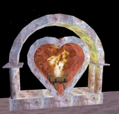 Heart Shaped Fireplace, beautiful glow, rock, crackling fire sound