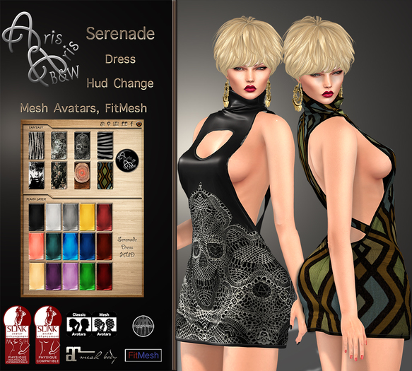***Arisaris/B&W~Serenade Dress~FITTED-MAITREYA-SLINK