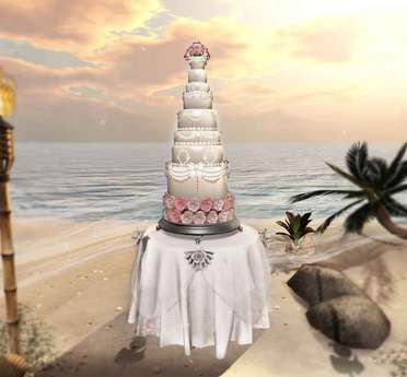 Aphrodite Royal Roses Spring Wedding cake- Includes fully animated wedding table for the groom & bride- Ideal reception