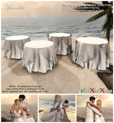 Aphrodite Spring Wedding tables- Animated couple table for any wedding cake in SL!