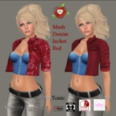 Apple Heart Inc. Mesh Denim Jacket red