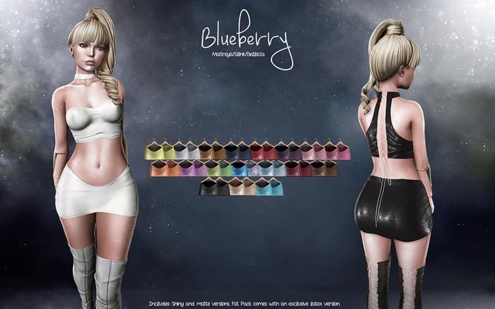 Blueberry - Anna Mesh Skirt - Maitreya Lara, Belleza (All), Slink Physique Hourglass - Fat Pack