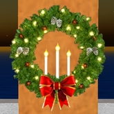 Christmas Wreath with candles and bow