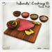 [V/W] Island's Cooking II: Tuna - Food Mesh, 1 LI Raw fish steak on cutting board w/ vegetables & seasoning's side bowls