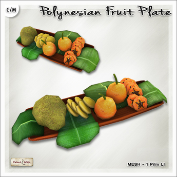[V/W] Polynesian Fruit Plate - 1 LI tropical fruits on wooden tray - Food Mesh