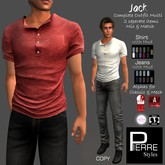 PS- JACK : NoCollar shirt & Straight-Leg Jeans combo