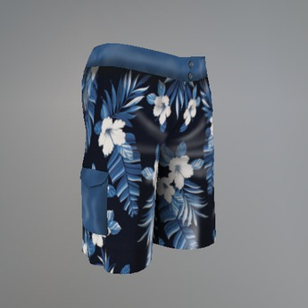 Blue Hibiscus Mesh Shorts