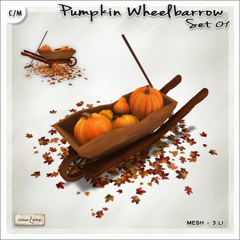 [V/W] Wheelbarrow Pumpkin Set V1 - Outdoor Mesh Fall Decor w/ ground leaves, 3 LI only
