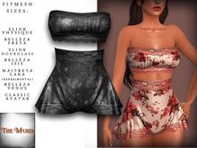 The Muses . Belle . Lingerie . Black/Grey - Fitmesh - Belleza, Slink, Maitreya, Classic Sizes.