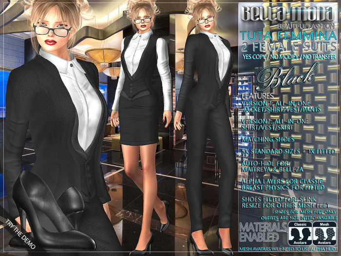 Bella Moda: Tuta Femmina Black Female Suits - 2 Versions Included + Shoes / 5 Standard Sizes + Fitted - FULL