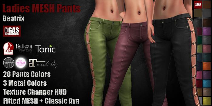 GAS [Ladies MESH Pants Beatrix - 20x3 Colors with HUD]