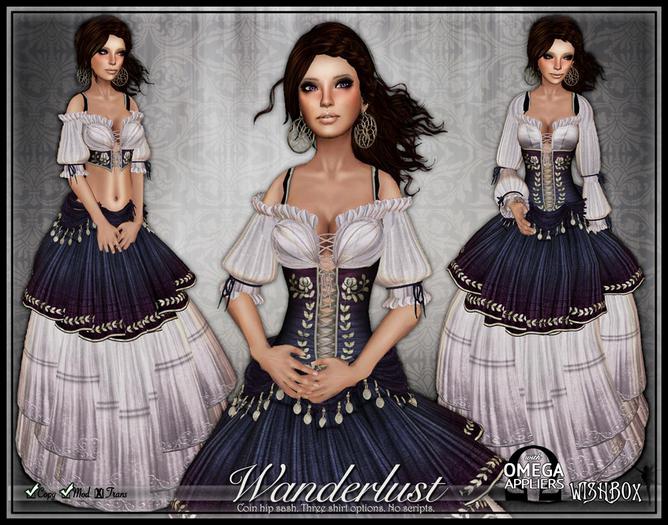 [Wishbox] Wanderlust (Indigo Purple) - Gypsy Dress w/ Coin Belt Sash & Corset - Medieval Fantasy Role Play *Gor *Gorean