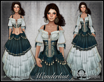 [Wishbox] Wanderlust (Teal Mist) - Gypsy Dress with Coin Belt Sash and Corset - Medieval Fantasy Role Play Wench Gown