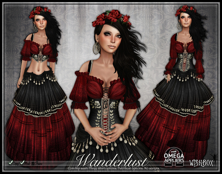 [Wishbox] Wanderlust (Gothic Rose) - Gypsy Dress w/ Coin Belt Sash in Black & Red Medieval Fantasy Role Play