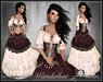 [Wishbox] Wanderlust (Maroon & White) - Gypsy Dress with Coin Belt Sash and Corset - Medieval Fantasy Role Play Gown