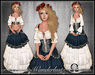 [Wishbox] Wanderlust (Blue & White) - Gypsy Dress with Coin Belt Sash and Corset - Medieval Fantasy Role Play Wench Gown