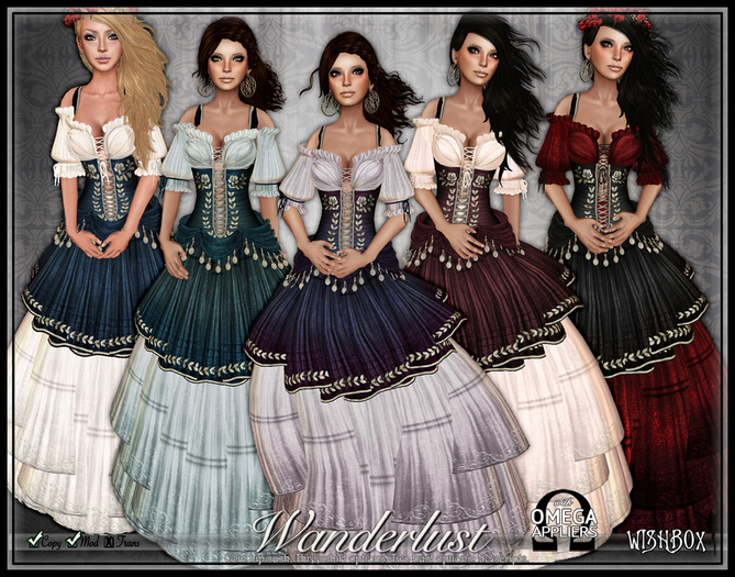 [Wishbox] Wanderlust (Megapack) - Five Colors - Gypsy Dress with Coin Belt Sash and Corset - Medieval Fantasy Role Play