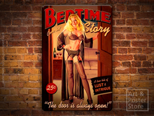 BEDTIME STORY Sexy Pin Up TIN SIGN Retro Wall Plaque