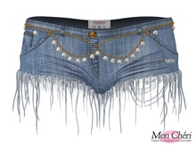 *MC* Frayed Denim Hotpants / Classic Blue