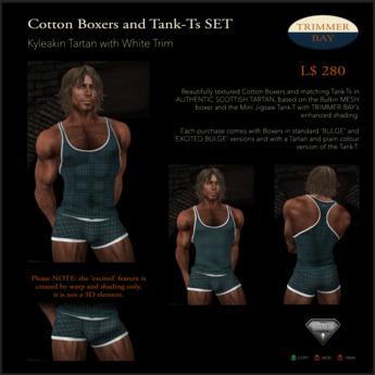 Tartan Cotton Boxers and Tank-Ts SET in Kyleakin Tartan with White trim