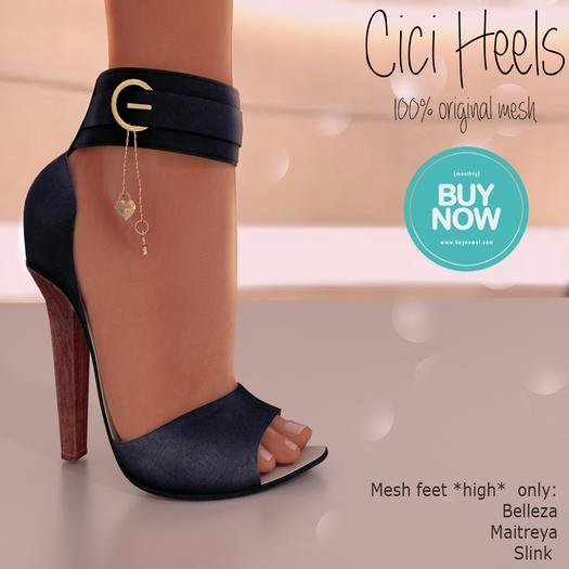 Apple May Designs - Cici Heels - Navy Blue (wear to unpack)
