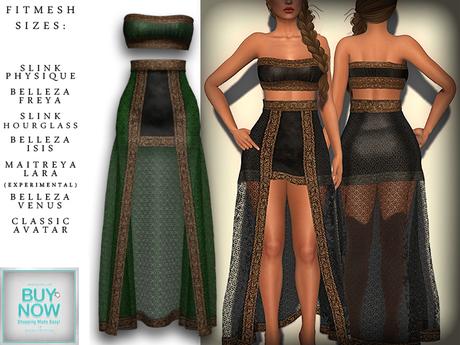 The Muses . Nyx . Green (Buy Now - September) Fitmesh - Belleza, Slink, Maitreya, Classic Sizes.