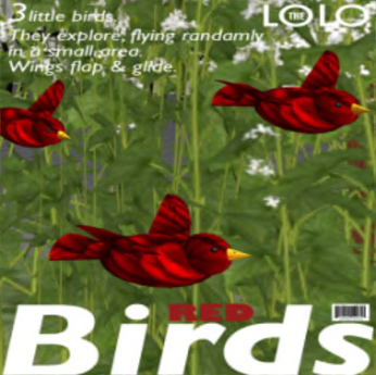 Bird - 3 Red Birds by LOLO Pet Shop