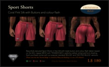 Sport Shorts in Coral Pink Silk with Brass Buttons and Aqua flash detail