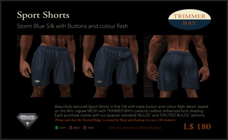 Sport Shorts in Storm Blue Silk with Brass Buttons and Orange flash detail