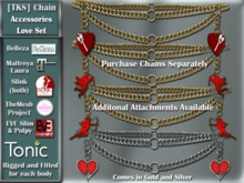 [TKS] Belly Chain Accessories - Love Set for Belleza, Eve, Slink, Maitreya, TheMeshProject  and Tonic Bodies