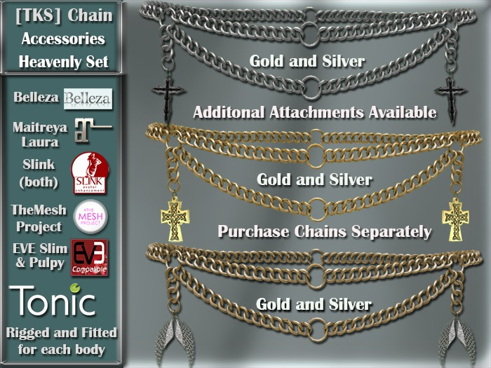 [TKS] Belly Chain Accessories - Heavenly for Belleza, Eve, Slink, Maitreya, TheMeshProject  and Tonic Bodies