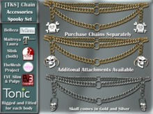 [TKS] Belly Chain Accessories -Spooky Set for Belleza, Eve, Slink, Maitreya, TheMeshProject  and Tonic Bodies