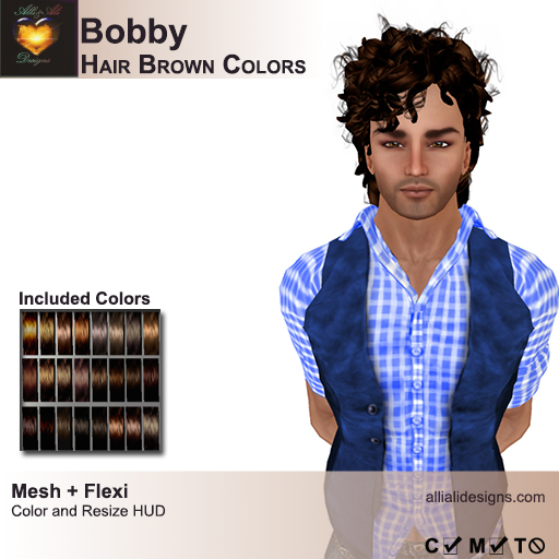 A&A Bobby Hair Brown Colors Pack. Rockstar mens mesh hairstyle
