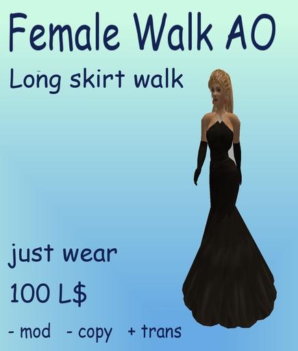 A&A female long skirt walk AO