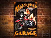 MOTORHEAD GARAGE Raunchy BIKERS Pin Up Girl Metal Sign POSTER