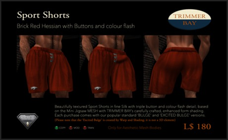 Sport Shorts in Brick Red Hessian with Brass Buttons and Aqua flash detail