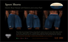 Sport Shorts in Electric Blue Hessian with Brass Buttons and Red flash detail