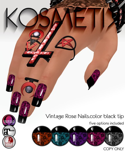 .kosmetik - Vintage Rose Nails.color black tip