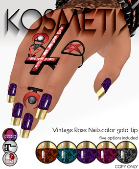 .kosmetik - Vintage Rose Nails.color gold tip