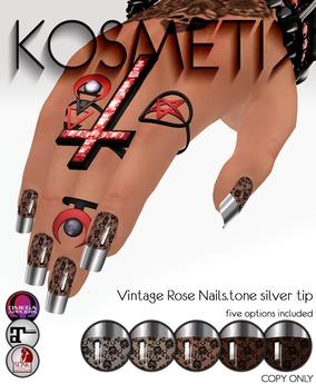 .kosmetik - Vintage Rose Nails.tone silver tip