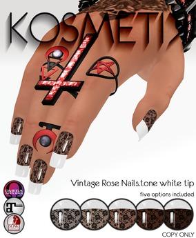 .kosmetik - Vintage Rose Nails.tone white tip