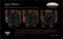 Sport Shorts in Black Hessian with Brass Buttons and Aqua flash detail