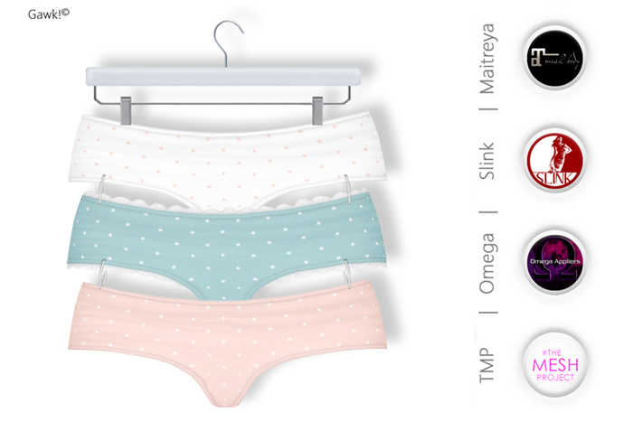 GAWK! Mini Panties Pack 2 | BoM & Appliers for Maitreya, Slink Physique, TMP & Omega System