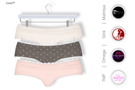 GAWK! Mini Panties Pack 5 | BoM & Appliers for Maitreya, Slink Physique, TMP & Omega System