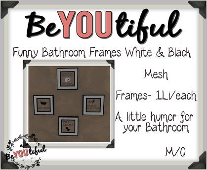 Second Life Marketplace Funny Bathroom Frames Black White Decor