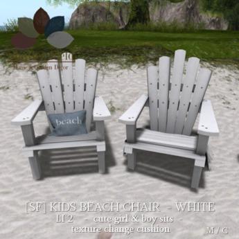 Sf Kids Beach Chair Set White