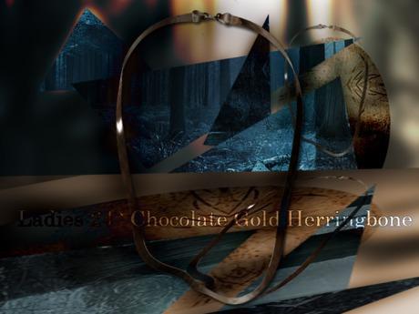 "Ladies 24"" Dark Chocolate Gold Herringbone"